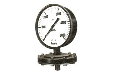 Diaphragm Type Gauges; These gauges are suitable for use on corrosive gases and liquids. Diaphragm Material in Stainless steel OR spring steel with teflon protection; Case Material of pressure die cast aluminium, steel or stainless steel.